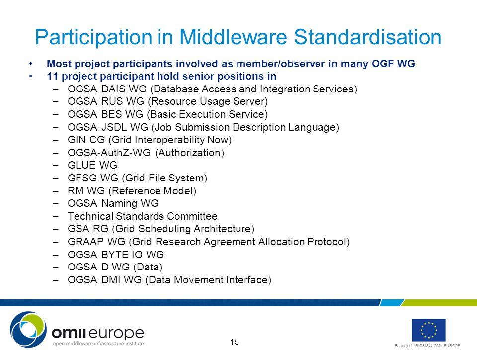 EU project: RIO31844-OMII-EUROPE 15 Participation in Middleware Standardisation Most project participants involved as member/observer in many OGF WG 1