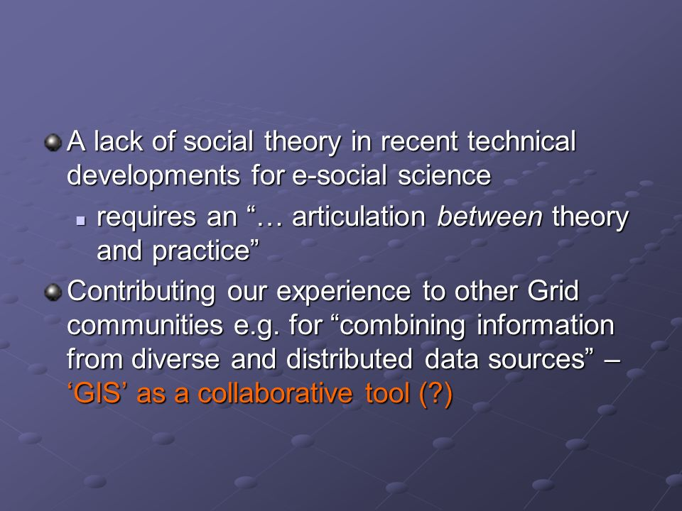 A lack of social theory in recent technical developments for e-social science requires an … articulation between theory and practice requires an … art