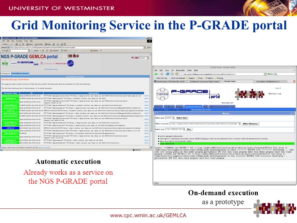 www.cpc.wmin.ac.uk/GEMLCA On-demand execution as a prototype Grid Monitoring Service in the P-GRADE portal Automatic execution Already works as a serv