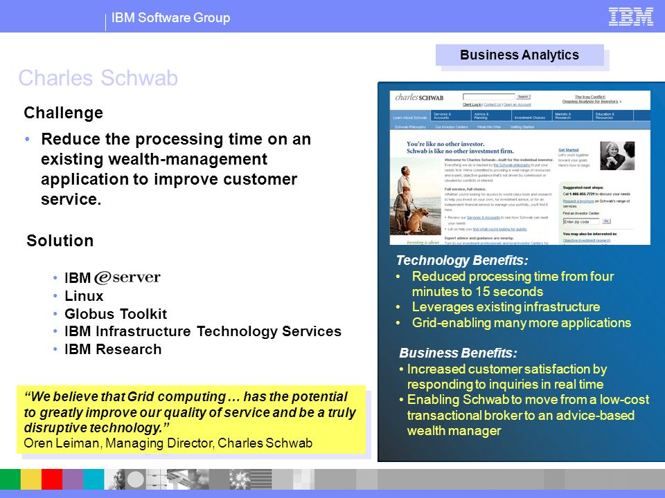 IBM Software Group Charles Schwab Reduce the processing time on an existing wealth-management application to improve customer service.