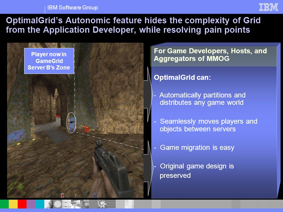 IBM Software Group For Game Developers, Hosts, and Aggregators of MMOG OptimalGrid can: - Automatically partitions and distributes any game world - Seamlessly moves players and objects between servers - Game migration is easy - Original game design is preserved OptimalGrids Autonomic feature hides the complexity of Grid from the Application Developer, while resolving pain points Player now in GameGrid Server As Zone Player now in GameGrid Server Bs Zone