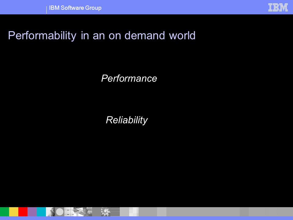 IBM Software Group Performability in an on demand world Performance Reliability