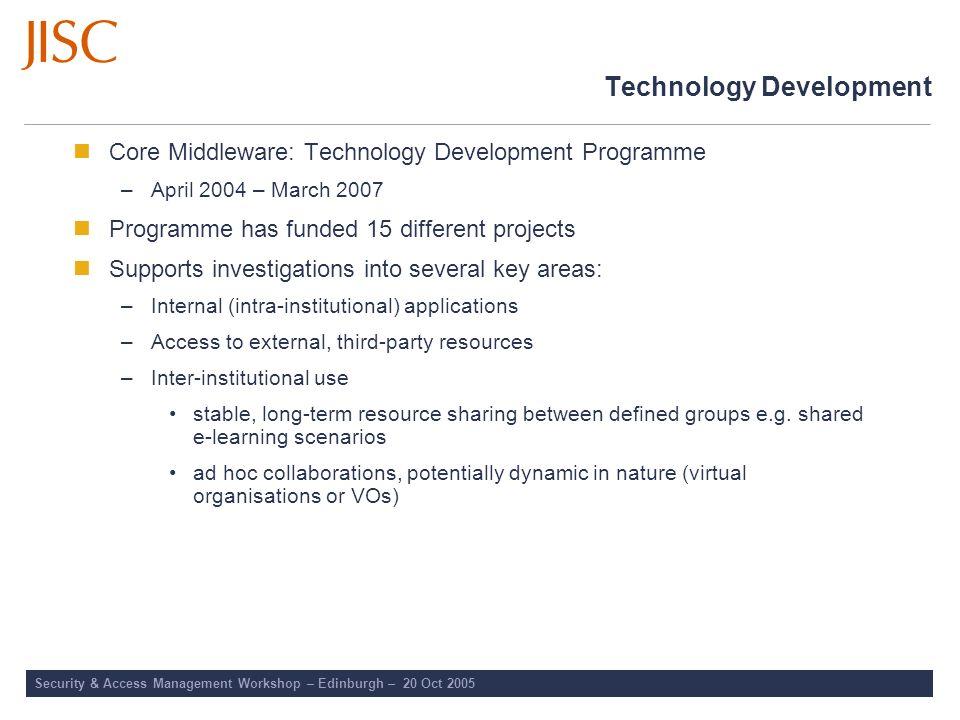 Security & Access Management Workshop – Edinburgh – 20 Oct 2005 Technology Development Core Middleware: Technology Development Programme –April 2004 –