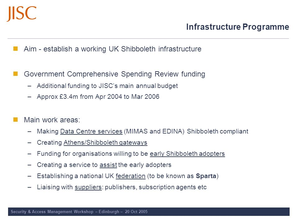 Infrastructure Programme Aim - establish a working UK Shibboleth infrastructure Government Comprehensive Spending Review funding –Additional funding t