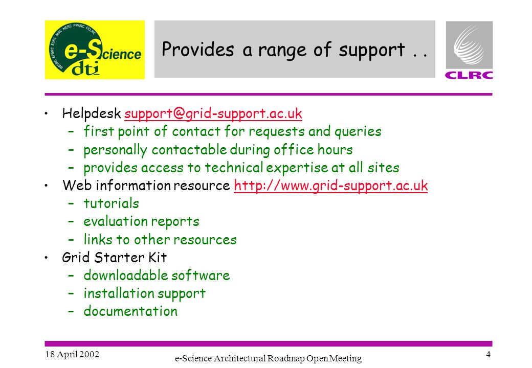 18 April 2002 e-Science Architectural Roadmap Open Meeting 4 Provides a range of support..