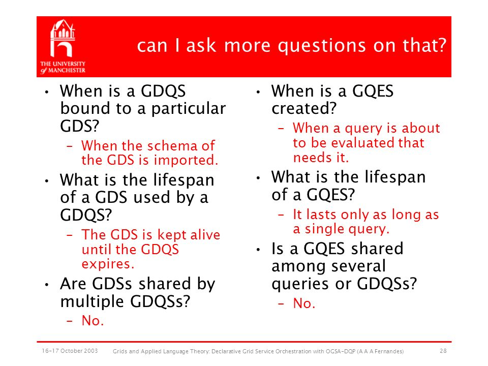 16-17 October 2003 Grids and Applied Language Theory: Declarative Grid Service Orchestration with OGSA-DQP (A A A Fernandes) 28 can I ask more questions on that.