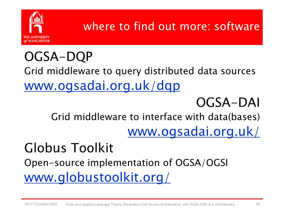 16-17 October 2003 Grids and Applied Language Theory: Declarative Grid Service Orchestration with OGSA-DQP (A A A Fernandes) 59 where to find out more: software OGSA-DQP Grid middleware to query distributed data sources www.ogsadai.org.uk/dqp OGSA-DAI Grid middleware to interface with data(bases) www.ogsadai.org.uk/ Globus Toolkit Open-source implementation of OGSA/OGSI www.globustoolkit.org/