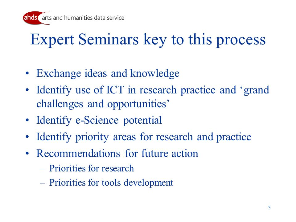 5 Expert Seminars key to this process Exchange ideas and knowledge Identify use of ICT in research practice and grand challenges and opportunities Identify e-Science potential Identify priority areas for research and practice Recommendations for future action –Priorities for research –Priorities for tools development