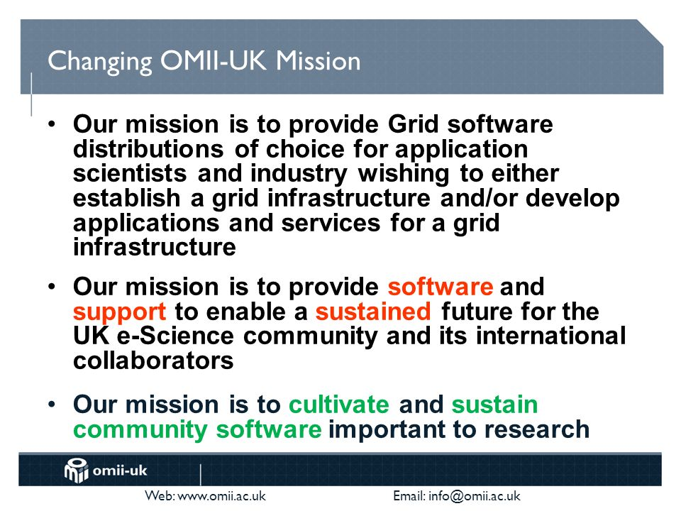 Web: www.omii.ac.uk Email: info@omii.ac.uk Changing the direction of the organisation Productise software on behalf of the developers Sustain software on behalf of the users We are farmers, not hunter-gatherers