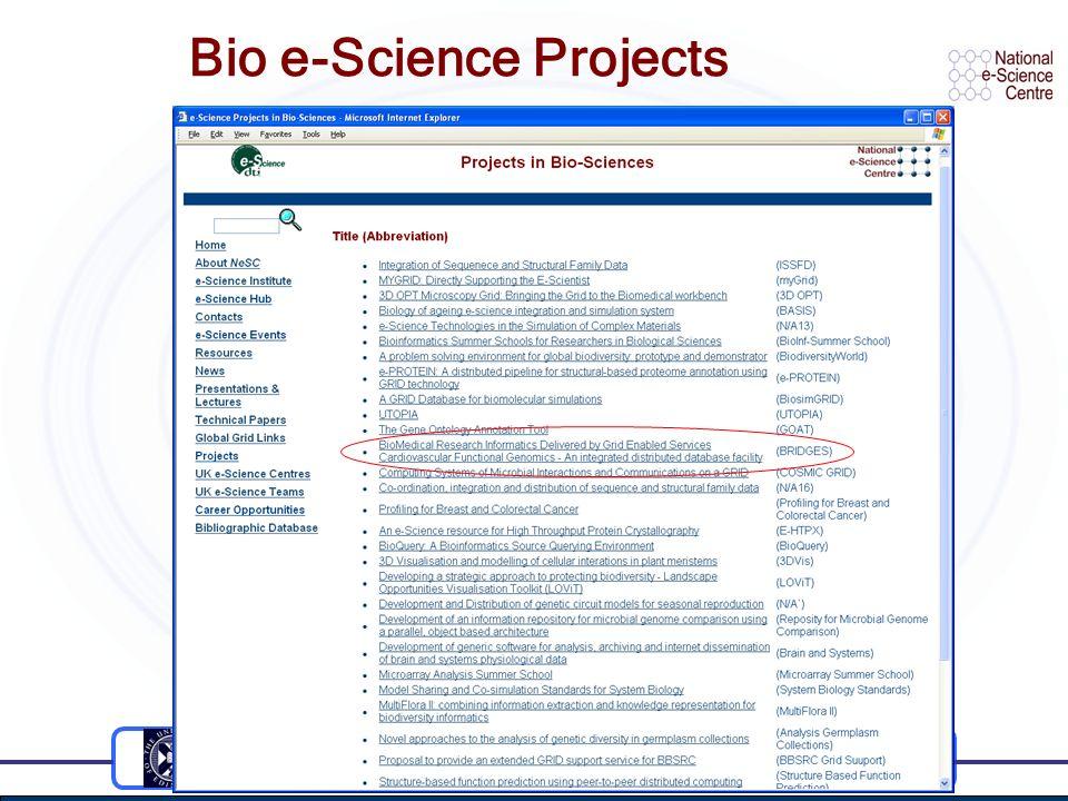 Bio e-Science Projects
