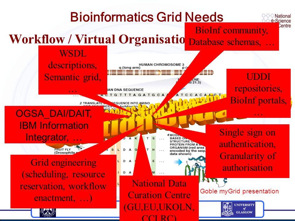 Bioinformatics Grid Needs Taken from C. Goble myGrid presentation Workflow / Virtual Organisation Needs OGSA_DAI/DAIT, IBM Information Integrator, … S