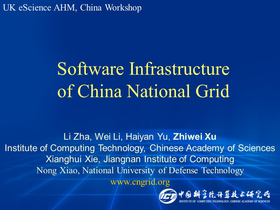 Software Infrastructure of China National Grid Li Zha, Wei Li, Haiyan Yu, Zhiwei Xu Institute of Computing Technology, Chinese Academy of Sciences Xia