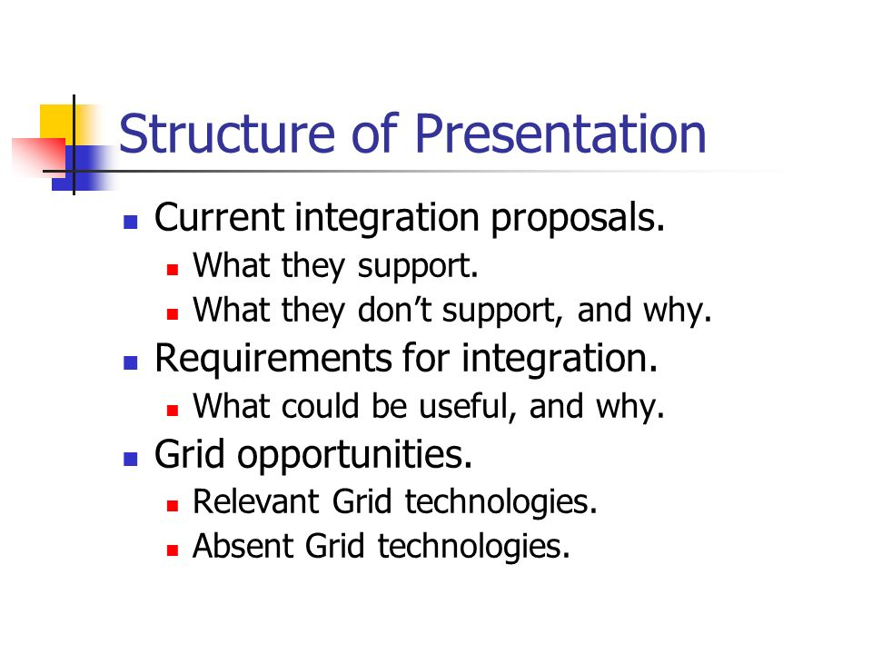 Structure of Presentation Current integration proposals. What they support. What they dont support, and why. Requirements for integration. What could