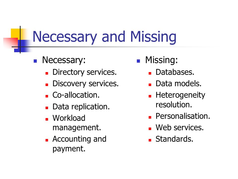 Necessary and Missing Necessary: Directory services.