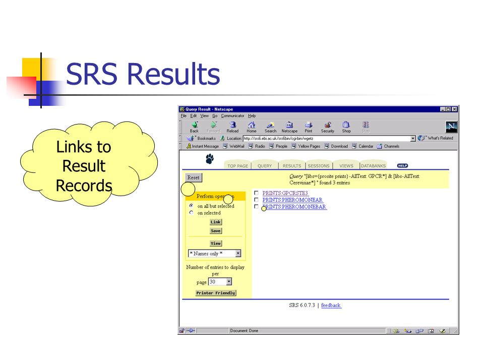 SRS Results Links to Result Records