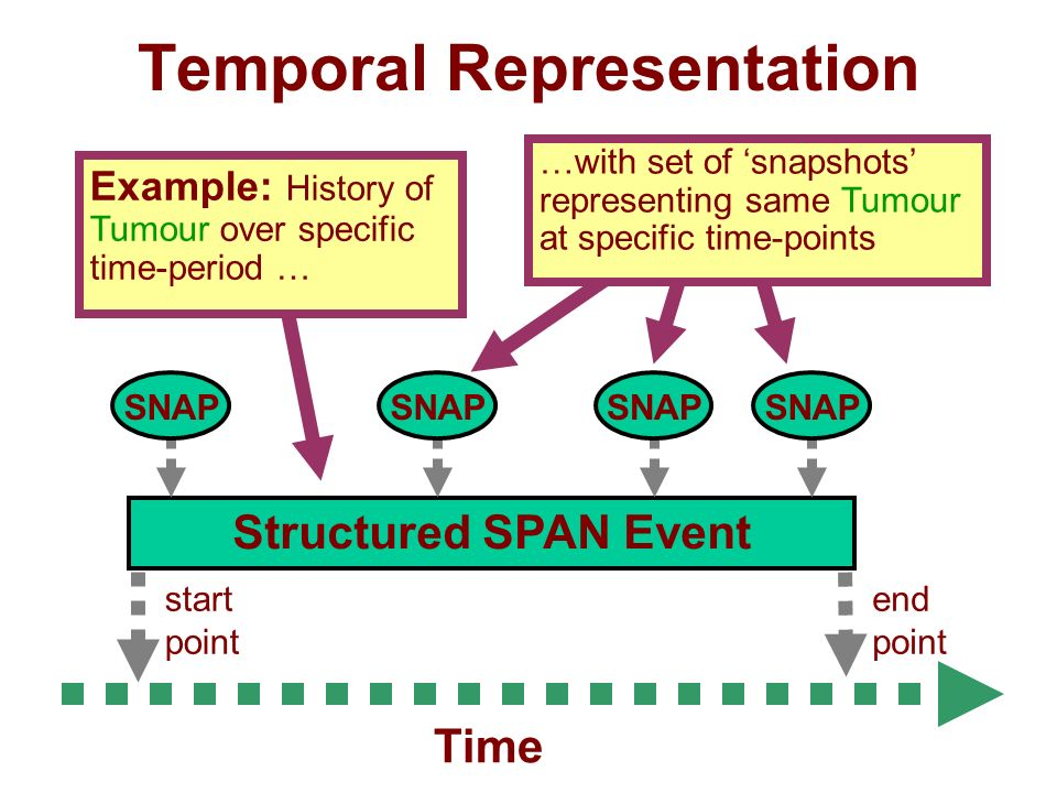 Temporal Representation end point start point Structured SPAN Event Time SNAP Example: History of Tumour over specific time-period … …with set of snapshots representing same Tumour at specific time-points