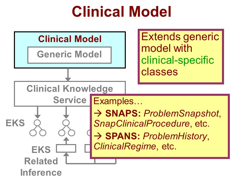 Clinical Model Generic Model Clinical Knowledge Service EKS Extends generic model with clinical-specific classes Examples… SNAPS: ProblemSnapshot, SnapClinicalProcedure, etc.