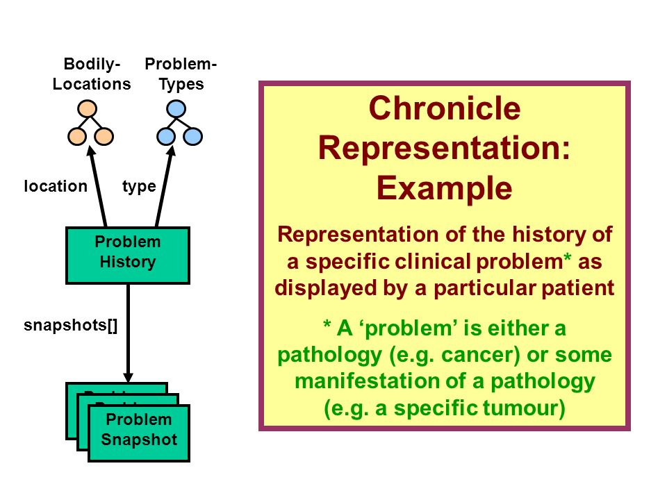 Problem- Types Problem History snapshots[] Problem Snapshot locationtype Bodily- Locations Problem Snapshot Problem Snapshot Chronicle Representation: Example Representation of the history of a specific clinical problem* as displayed by a particular patient * A problem is either a pathology (e.g.