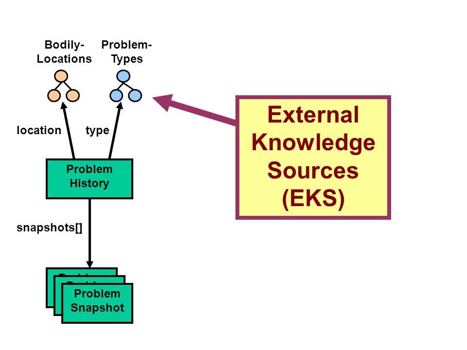 External Knowledge Sources (EKS) Problem- Types Problem History snapshots[] Problem Snapshot locationtype Bodily- Locations Problem Snapshot Problem S
