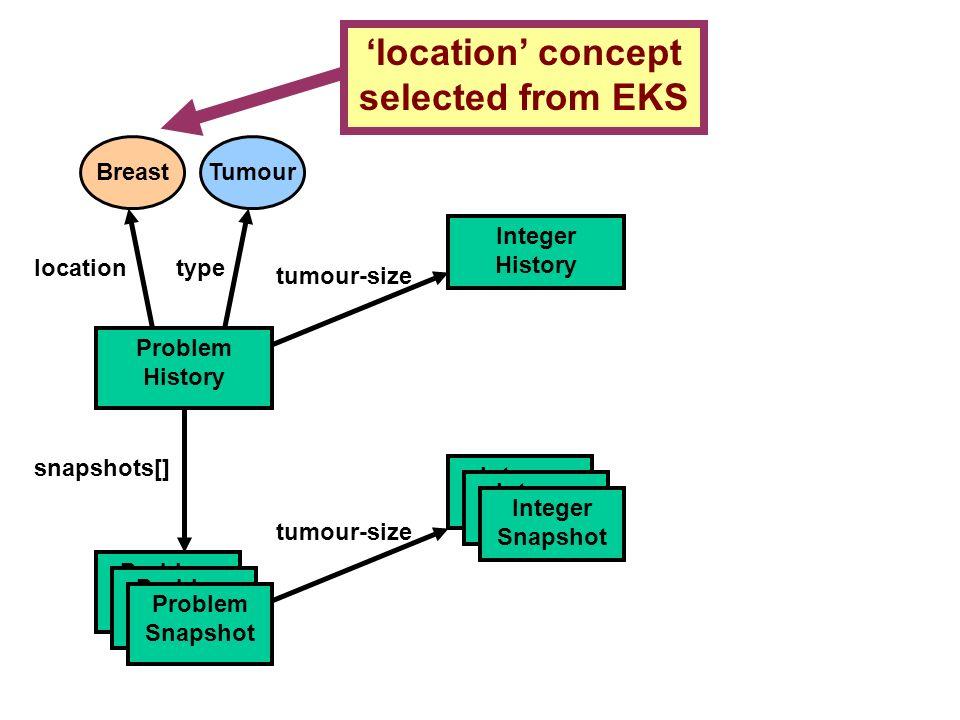 Breast location concept selected from EKS Problem History snapshots[] Problem Snapshot locationtype Integer Snapshot Integer History tumour-size Integ