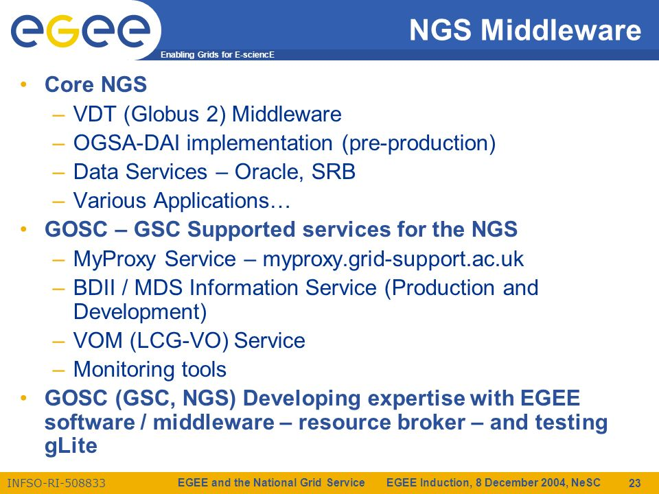 Enabling Grids for E-sciencE INFSO-RI-508833 EGEE and the National Grid Service EGEE Induction, 8 December 2004, NeSC 23 Core NGS –VDT (Globus 2) Middleware –OGSA-DAI implementation (pre-production) –Data Services – Oracle, SRB –Various Applications… GOSC – GSC Supported services for the NGS –MyProxy Service – myproxy.grid-support.ac.uk –BDII / MDS Information Service (Production and Development) –VOM (LCG-VO) Service –Monitoring tools GOSC (GSC, NGS) Developing expertise with EGEE software / middleware – resource broker – and testing gLite NGS Middleware