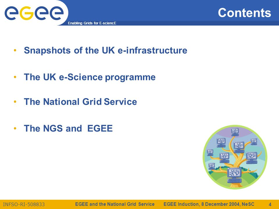 Enabling Grids for E-sciencE INFSO-RI-508833 EGEE and the National Grid Service EGEE Induction, 8 December 2004, NeSC 4 Contents Snapshots of the UK e-infrastructure The UK e-Science programme The National Grid Service The NGS and EGEE