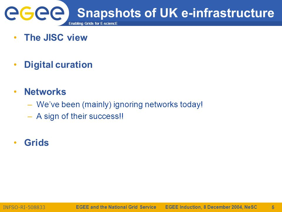 Enabling Grids for E-sciencE INFSO-RI-508833 EGEE and the National Grid Service EGEE Induction, 8 December 2004, NeSC 5 Snapshots of UK e-infrastructure The JISC view Digital curation Networks –Weve been (mainly) ignoring networks today.