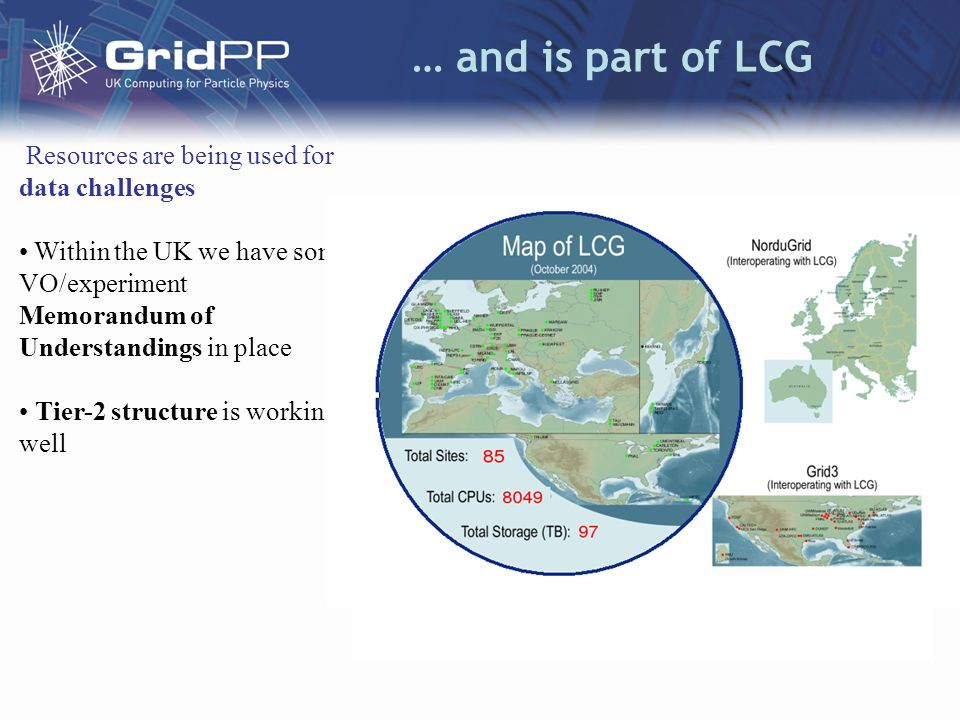 Scale GridPP prototype Grid > 1,000 CPUs –500 CPUs at the Tier-1 at RAL > 500 CPUs at 11 sites across UK organised in 4 Regional Tier-2s > 500 TB of storage > 800 simultaneous jobs Integrated with international LHC Computing Grid (LCG) > 5,000 CPUs > 4,000 TB of storage > 85 sites around the world > 4,000 simultaneous jobs monitored via Grid Operations Centre (RAL) CPUsFree CPUs Run Jobs Wait Jobs Avail TBUsed TBMax CPUAve.