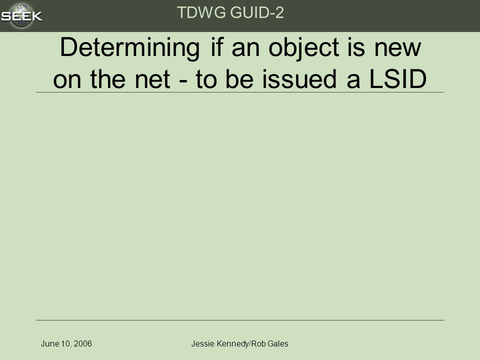 TDWG GUID-2 June 10, 2006Jessie Kennedy/Rob Gales Determining if an object is new on the net - to be issued a LSID