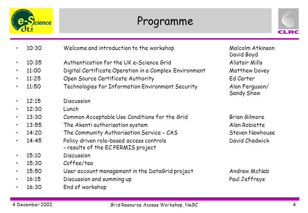 4 December 2002 Grid Resource Access Workshop, NeSC 4 Programme 10:30Welcome and introduction to the workshopMalcolm Atkinson David Boyd 10:35Authentication for the UK e-Science GridAlistair Mills 11:00Digital Certificate Operation in a Complex EnvironmentMatthew Dovey 11:25Open Source Certificate AuthorityEd Carter 11:50Technologies for Information Environment SecurityAlan Ferguson/ Sandy Shaw 12:15Discussion 12:30Lunch 13:30Common Acceptable Use Conditions for the GridBrian Gilmore 13:55The Akenti authorisation systemAlan Robiette 14:20The Community Authorisation Service - CASSteven Newhouse 14:45Policy driven role-based access controlsDavid Chadwick - results of the EC PERMIS project 15:10Discussion 15:30Coffee/tea 15:50User account management in the DataGrid projectAndrew McNab 16:15Discussion and summing upPaul Jeffreys 16:30End of workshop