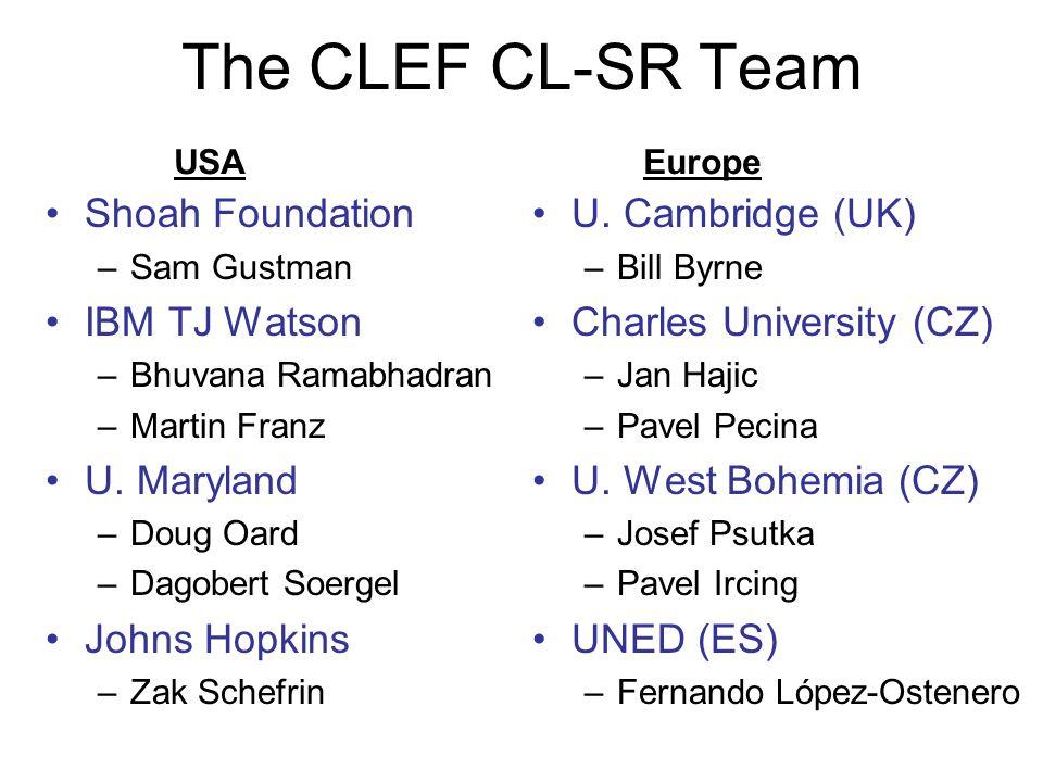 The CLEF CL-SR Team Shoah Foundation –Sam Gustman IBM TJ Watson –Bhuvana Ramabhadran –Martin Franz U.