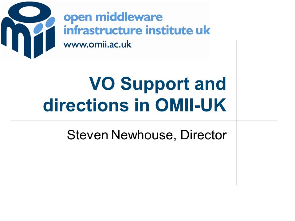 VO Support and directions in OMII-UK Steven Newhouse, Director