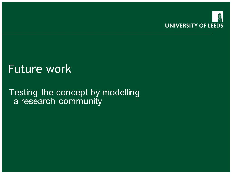 Future work Testing the concept by modelling a research community