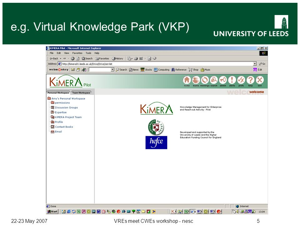 22-23 May 2007VREs meet CWEs workshop - nesc5 e.g. Virtual Knowledge Park (VKP)