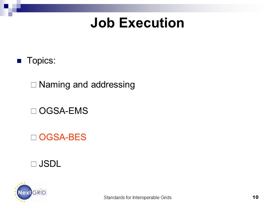 Standards for Interoperable Grids10 Job Execution Topics: Naming and addressing OGSA-EMS OGSA-BES JSDL