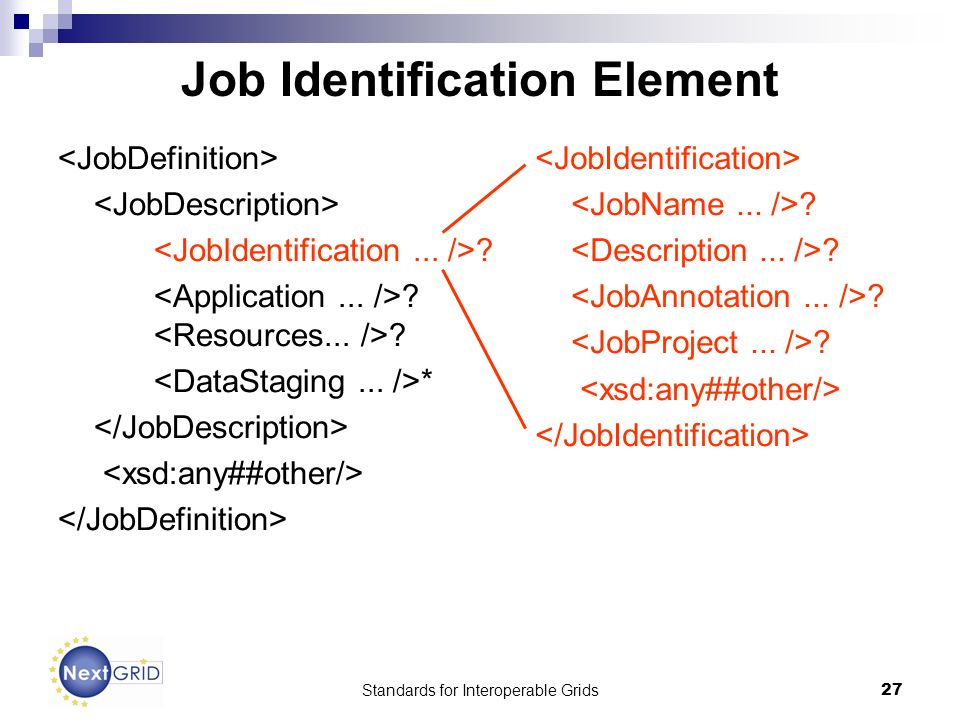 Standards for Interoperable Grids27 Job Identification Element *