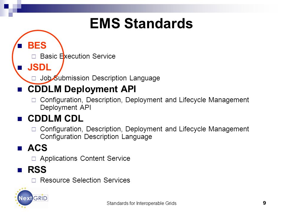 Standards for Interoperable Grids9 EMS Standards BES Basic Execution Service JSDL Job Submission Description Language CDDLM Deployment API Configuration, Description, Deployment and Lifecycle Management Deployment API CDDLM CDL Configuration, Description, Deployment and Lifecycle Management Configuration Description Language ACS Applications Content Service RSS Resource Selection Services