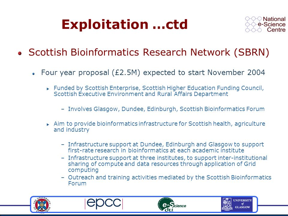 Exploitation …ctd Scottish Bioinformatics Research Network (SBRN) Four year proposal (£2.5M) expected to start November 2004 Funded by Scottish Enterprise, Scottish Higher Education Funding Council, Scottish Executive Environment and Rural Affairs Department –Involves Glasgow, Dundee, Edinburgh, Scottish Bioinformatics Forum Aim to provide bioinformatics infrastructure for Scottish health, agriculture and industry –Infrastructure support at Dundee, Edinburgh and Glasgow to support first-rate research in bioinformatics at each academic institute –Infrastructure support at three institutes, to support inter-institutional sharing of compute and data resources through application of Grid computing –Outreach and training activities mediated by the Scottish Bioinformatics Forum
