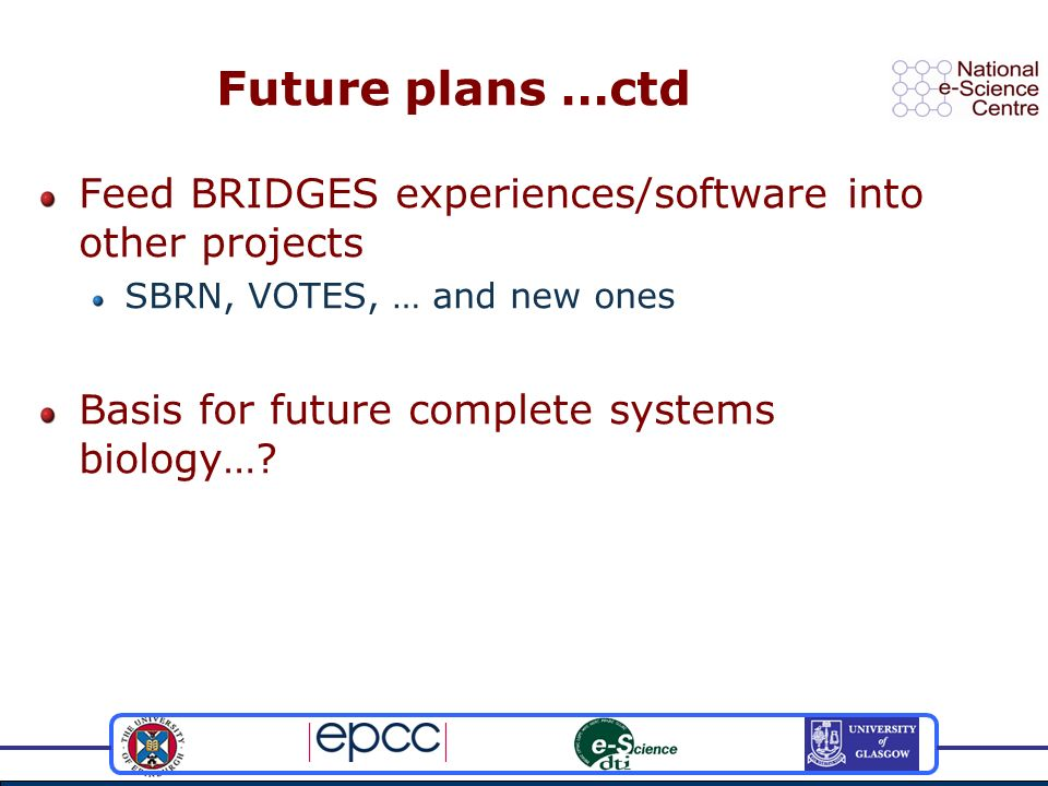 Future plans …ctd Feed BRIDGES experiences/software into other projects SBRN, VOTES, … and new ones Basis for future complete systems biology…