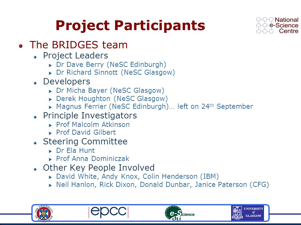 Project Participants The BRIDGES team Project Leaders Dr Dave Berry (NeSC Edinburgh) Dr Richard Sinnott (NeSC Glasgow) Developers Dr Micha Bayer (NeSC Glasgow) Derek Houghton (NeSC Glasgow) Magnus Ferrier (NeSC Edinburgh)… left on 24 th September Principle Investigators Prof Malcolm Atkinson Prof David Gilbert Steering Committee Dr Ela Hunt Prof Anna Dominiczak Other Key People Involved David White, Andy Knox, Colin Henderson (IBM) Neil Hanlon, Rick Dixon, Donald Dunbar, Janice Paterson (CFG)