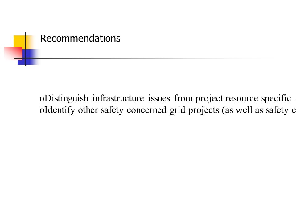 Recommendations oDistinguish infrastructure issues from project resource specific –specific ones oIdentify other safety concerned grid projects (as well as safety crucial resources or operations)