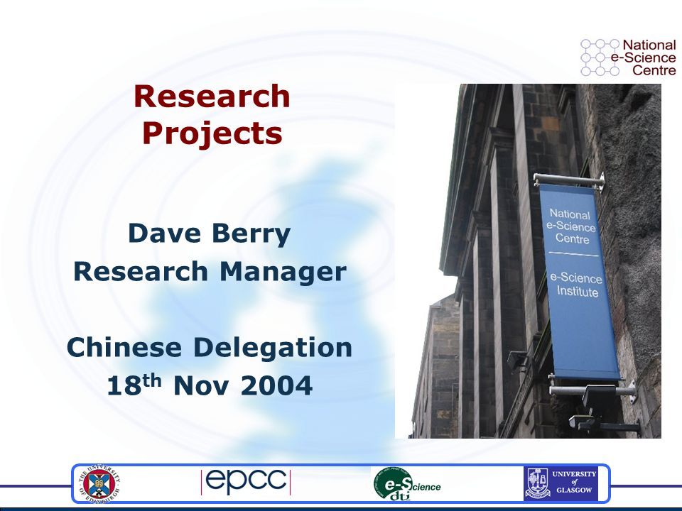 Research Projects Dave Berry Research Manager Chinese Delegation 18 th Nov 2004