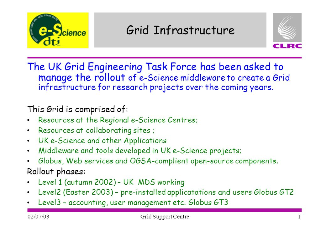02/07/03 Grid Support Centre 1 Grid Infrastructure The UK Grid Engineering Task Force has been asked to manage the rollout of e-Science middleware to create a Grid infrastructure for research projects over the coming years.