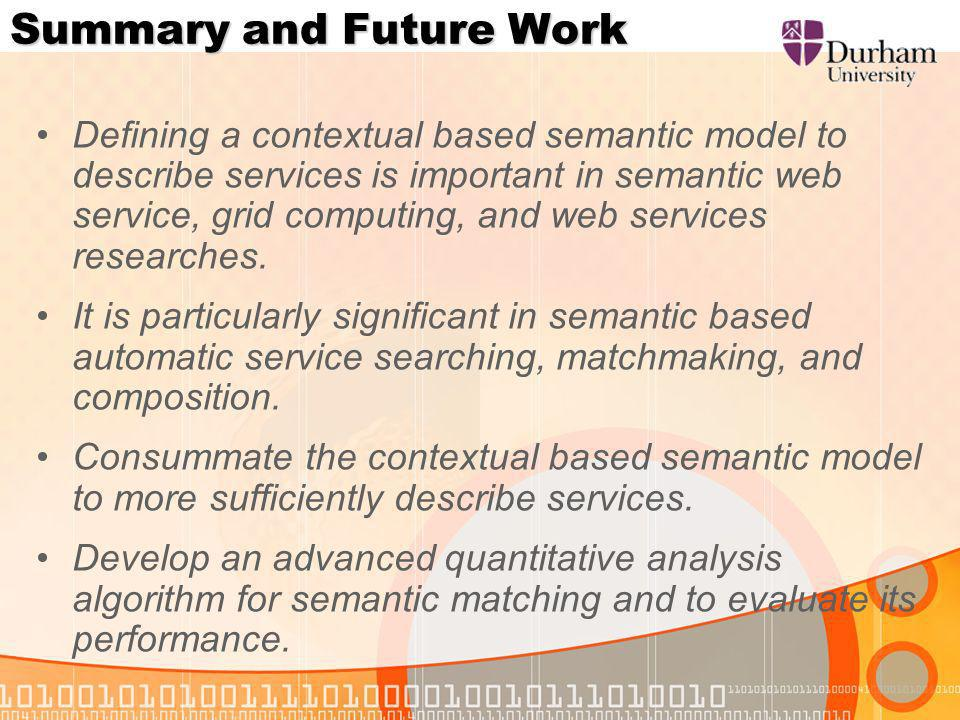 Summary and Future Work Defining a contextual based semantic model to describe services is important in semantic web service, grid computing, and web services researches.