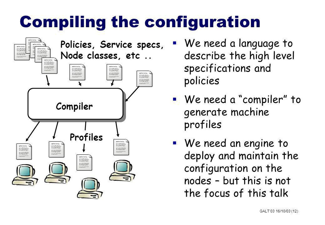 GALT03 16/10/03 (12) Compiling the configuration Compiler Profiles Policies, Service specs, Node classes, etc..