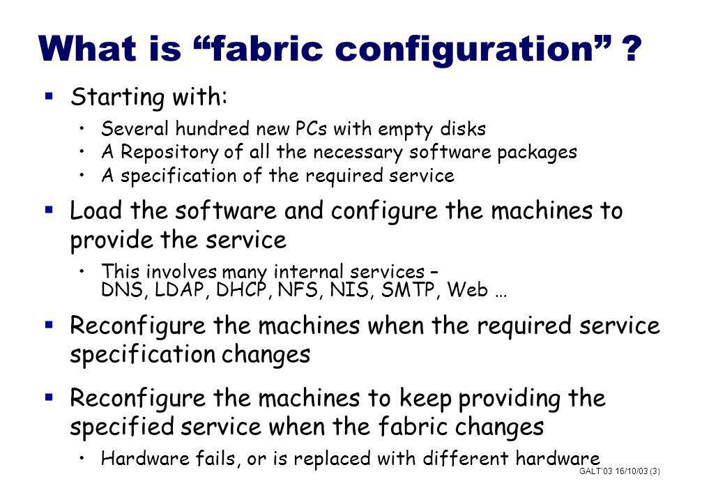 GALT03 16/10/03 (3) What is fabric configuration .