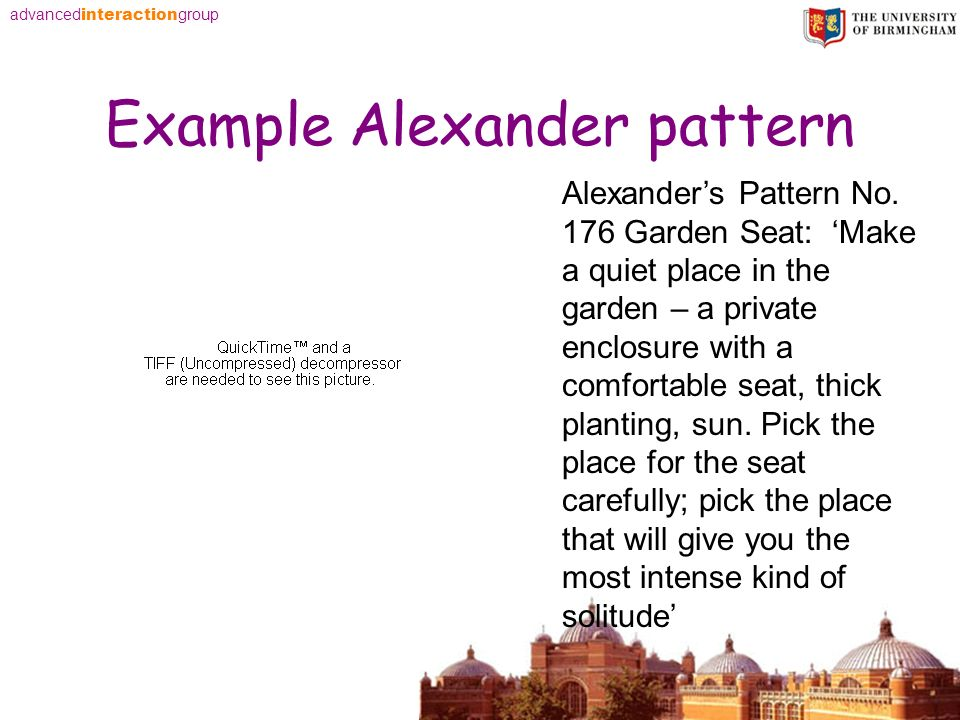 advanced interaction group Example Alexander pattern Alexanders Pattern No. 176 Garden Seat: Make a quiet place in the garden – a private enclosure wi