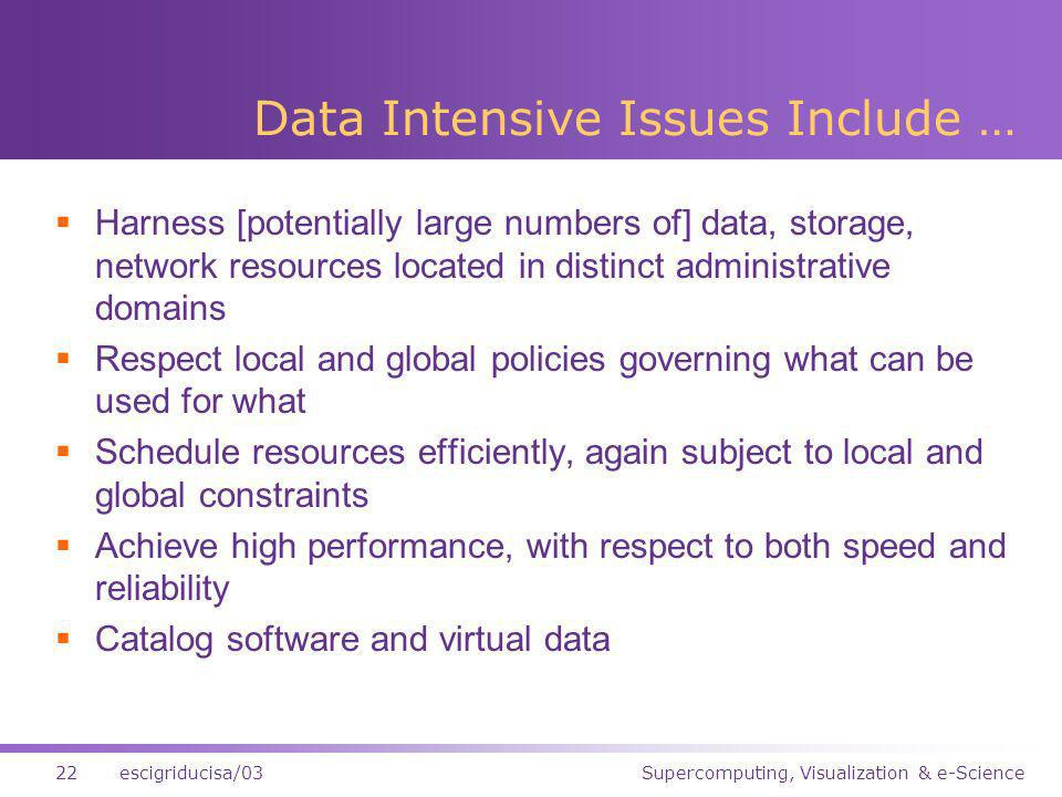 Supercomputing, Visualization & e-Science22escigriducisa/03 Data Intensive Issues Include … Harness [potentially large numbers of] data, storage, network resources located in distinct administrative domains Respect local and global policies governing what can be used for what Schedule resources efficiently, again subject to local and global constraints Achieve high performance, with respect to both speed and reliability Catalog software and virtual data