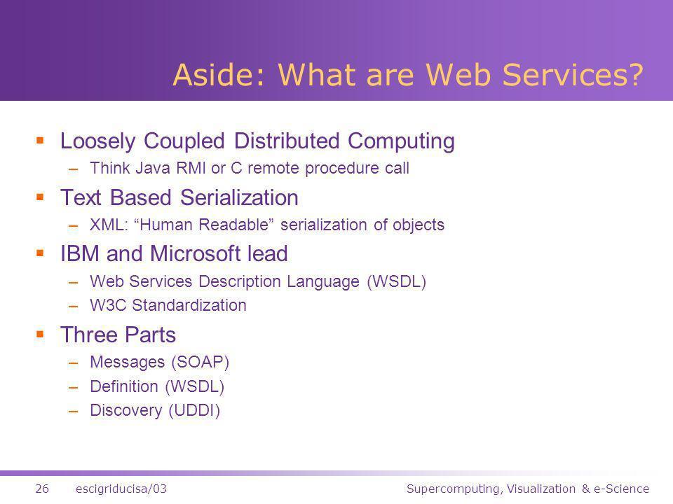 Supercomputing, Visualization & e-Science26escigriducisa/03 Aside: What are Web Services.