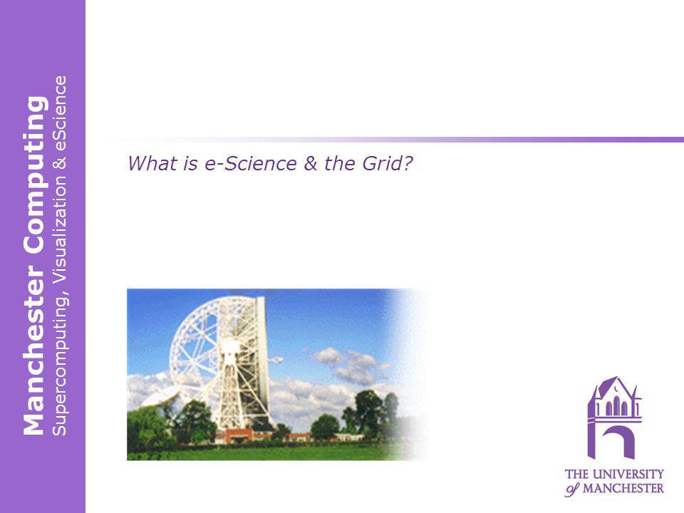 Manchester Computing Supercomputing, Visualization & eScience What is e-Science & the Grid?